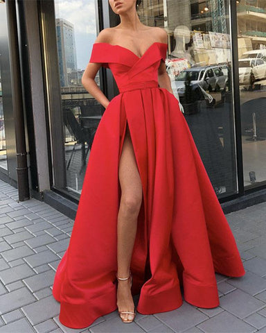 Image of Long-Red-Prom-Dresses-Off-Shoulder-Satin-Evening-Gowns