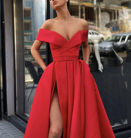 Image of Sexy-V-neck-Off-Shoulder-Prom-Long-Dresses-Satin-Evening-Gowns