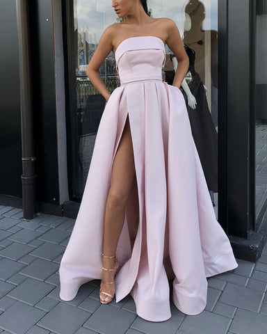 Image of Strapless Bodice Corset Satin Floor Length Prom Evening Dress With Slit