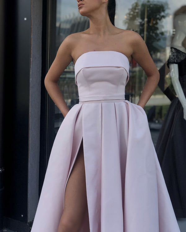 Strapless Bodice Corset Satin Floor Length Prom Evening Dress With Slit