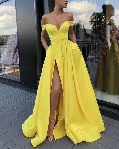 Image of Yellow-Evening-Dresses-Off-Shoulder-Long-Satin-Prom-Gowns-2018