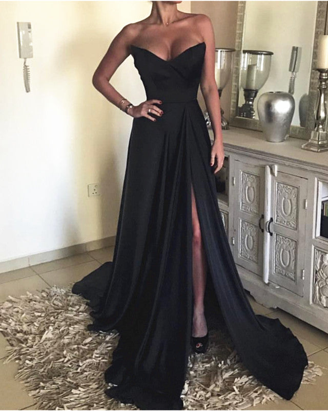 Sexy Strapless Long Satin Split Prom Evening Dresses 2019