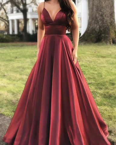 Image of Burgundy-Prom-Long-Dresses-2019-V-neck-Satin-Evening-Gowns