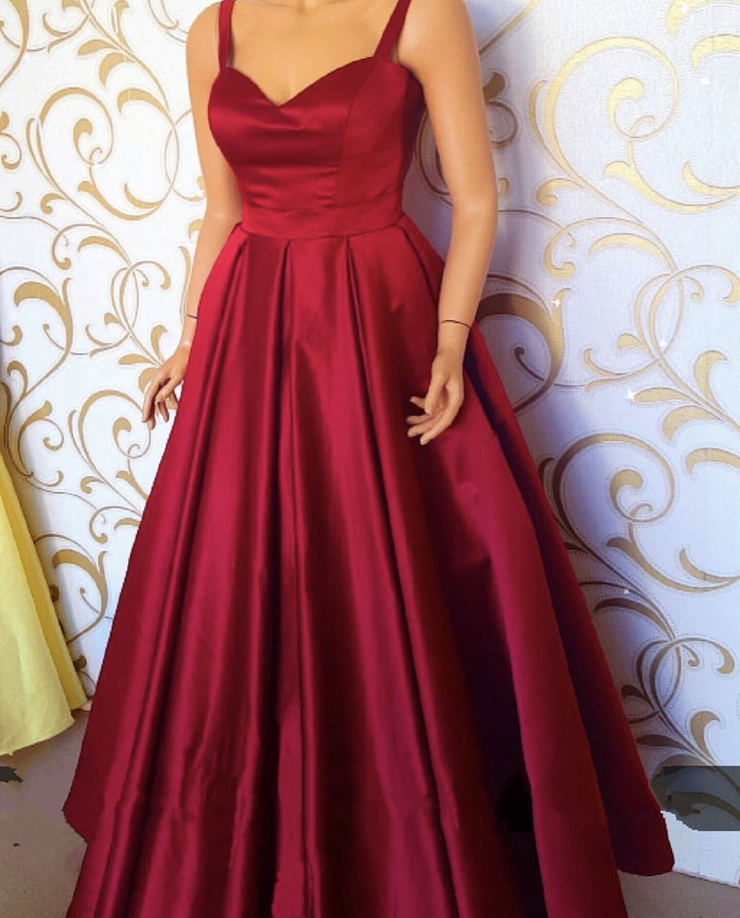 Sweetheart Floor Length Satin Prom Dresses With Straps