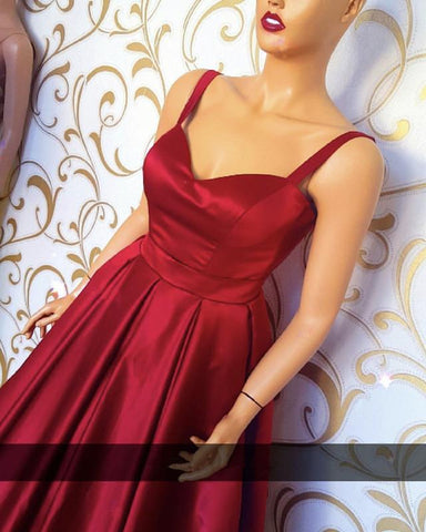 Image of Sweetheart Floor Length Satin Prom Dresses With Straps