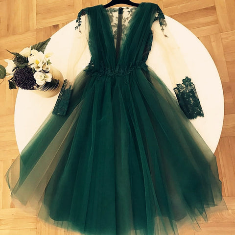 Image of Long-Sleeves-Homecoming-Dresses