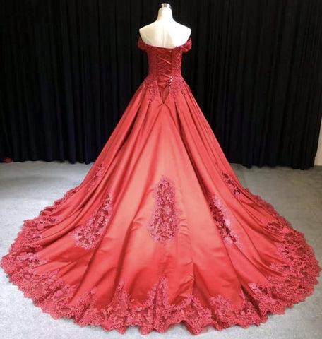 Image of Lace Embroidery Satin Sweep Train Wedding Dresses Ball Gowns