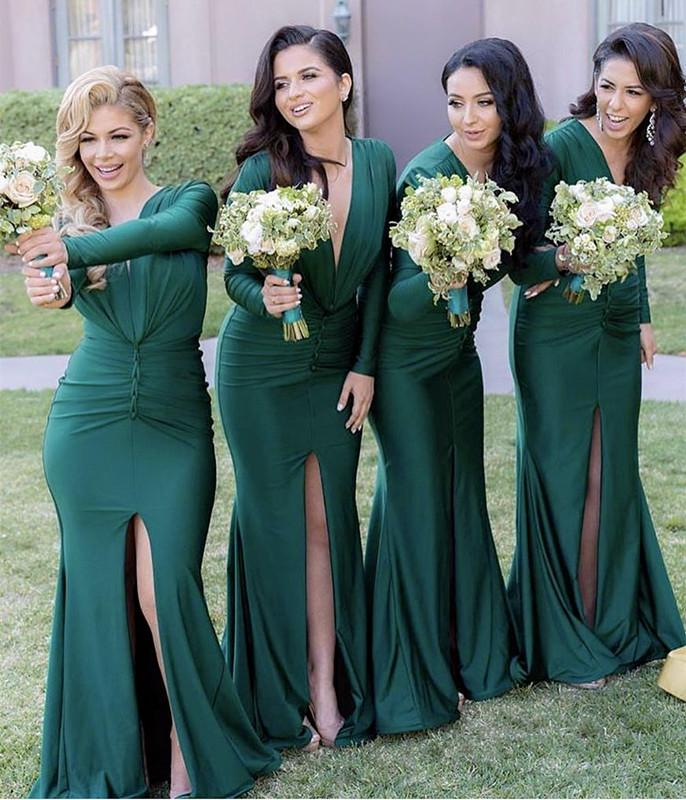 Long Sleeves Open Back Mermaid V-neck Bridesmaid Dresses