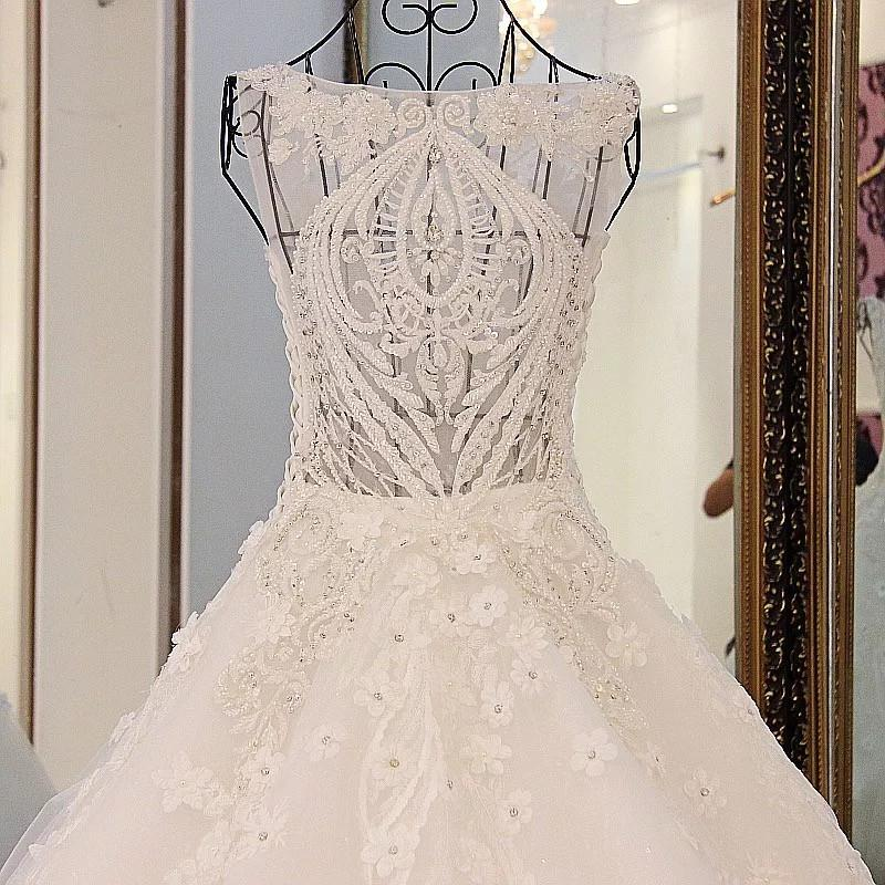 vintage scoop neck pearl and crystal beaded ball gowns wedding dresses 2017