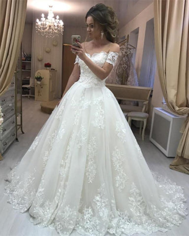 Image of Elegant-Wedding-Dress-Bridal-Ball-Gowns