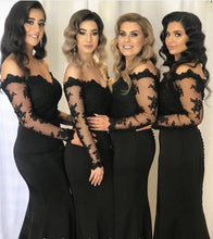 Load image into Gallery viewer, Lace Long Sleeves Off Shoulder Mermaid Bridesmaid Dresses Leg Slit