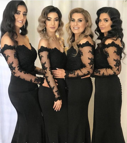 Image of Lace Long Sleeves Off Shoulder Mermaid Bridesmaid Dresses Leg Slit