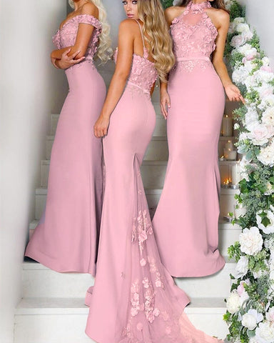 Image of Elegant Lace Halter Long Jersey Bridesmaid Dresses Mermaid Formal Gowns