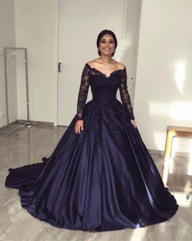 Lace Long Sleeves Off Shoulder Satin Wedding Dresses Ball Gowns