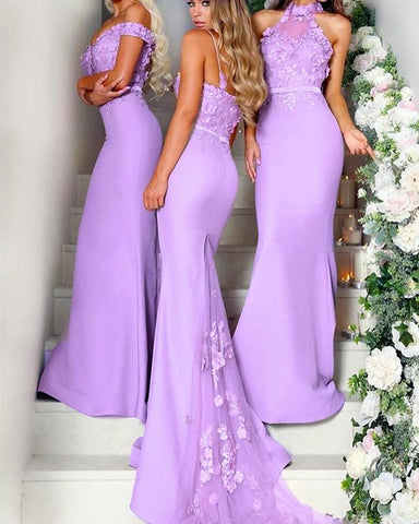 Image of Lilac-Bridesmaid-Dresses-Mermaid-Long-Jersey-Gowns
