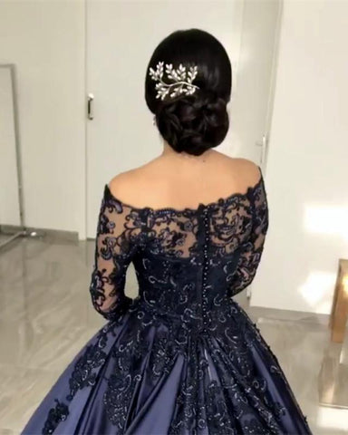 Image of Lace Long Sleeves Off Shoulder Satin Wedding Dresses Ball Gowns
