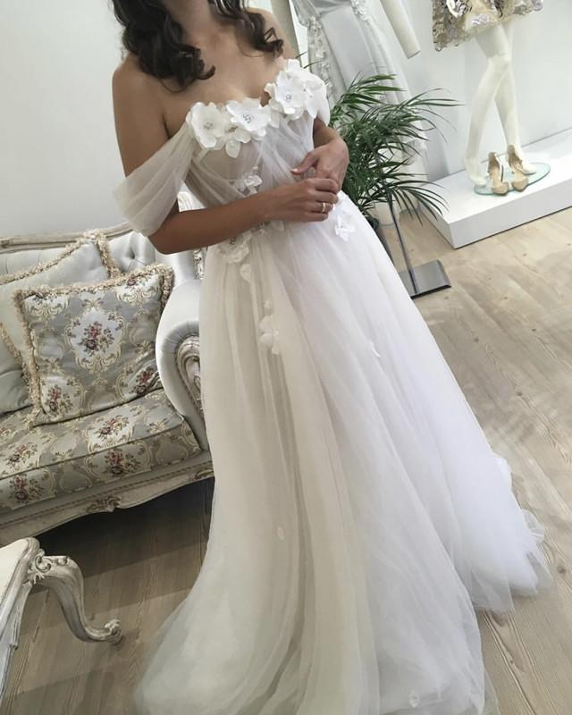 Beautiful Flowers Beaded Off Shoulder Tulle Wedding Dresses