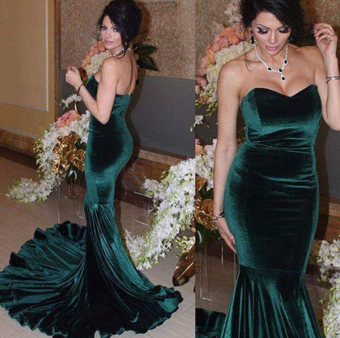 Image of Sexy Strapless Bodice Corset Velvet Evening Gowns Long Mermaid Prom Dresses 2018