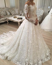 Load image into Gallery viewer, Illusion Neckline Long Sleeves Lace Wedding Dresses Ball Gowns