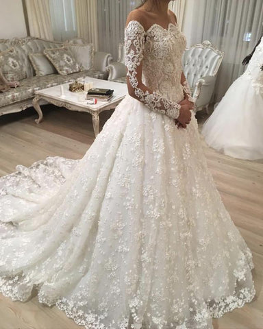 Image of Illusion Neckline Long Sleeves Lace Wedding Dresses Ball Gowns