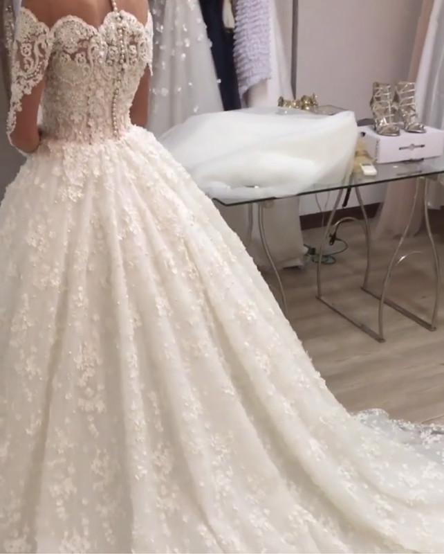 Illusion Neckline Long Sleeves Lace Wedding Dresses Ball Gowns