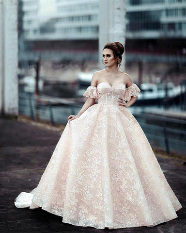 Image of Puffy Sleeves Sweetheart Ball Gowns Lace Quinceanera Dresses