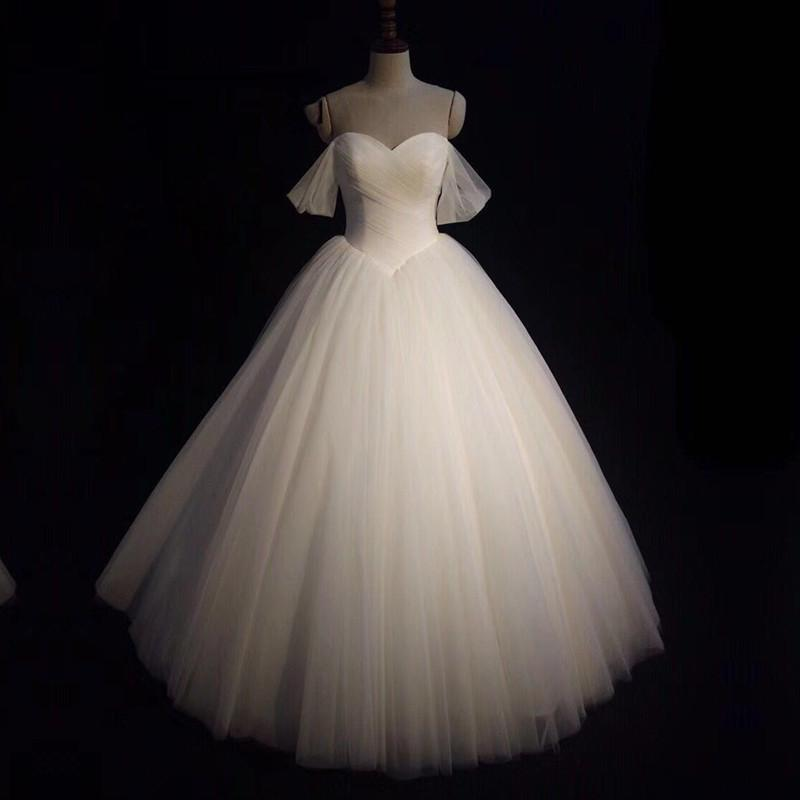 Sexy Pleated Sweetheart Tulle Ball Gowns Wedding Dresses Off-the-shoulder
