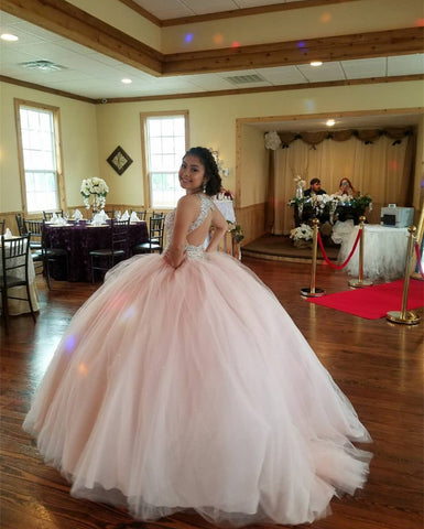 Image of Sequin Beaded Scoop Neckline Tulle Backless Quinceanera Dresses Ball Gowns