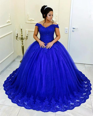 Image of Quinceanera-Dresses-Royal-Blue