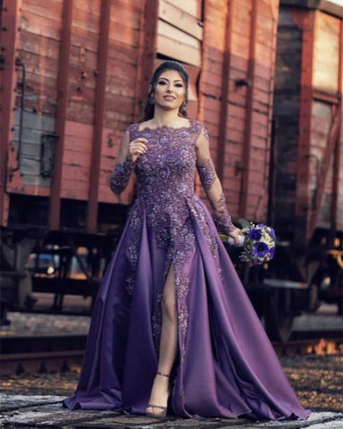 Image of Lace Beaded Long Sleeves Evening Gown Split Satin Prom Dresses