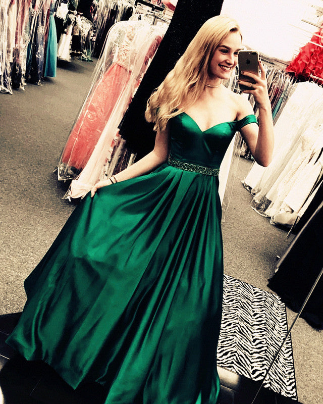9e3ed1651b18 Double tap to zoom · Dark Green Long Satin V-neck Evening Dresses Off-the- Shoulder ...