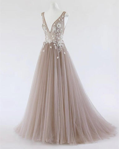 Image of See Through Prom Dresses Tulle Embroidery Evening Gowns