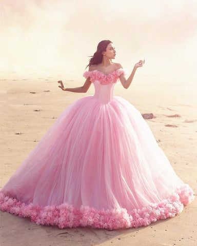 Image of Yellow Quinceanera Dresses Tulle Flowers Ball Gowns Off Shoulder