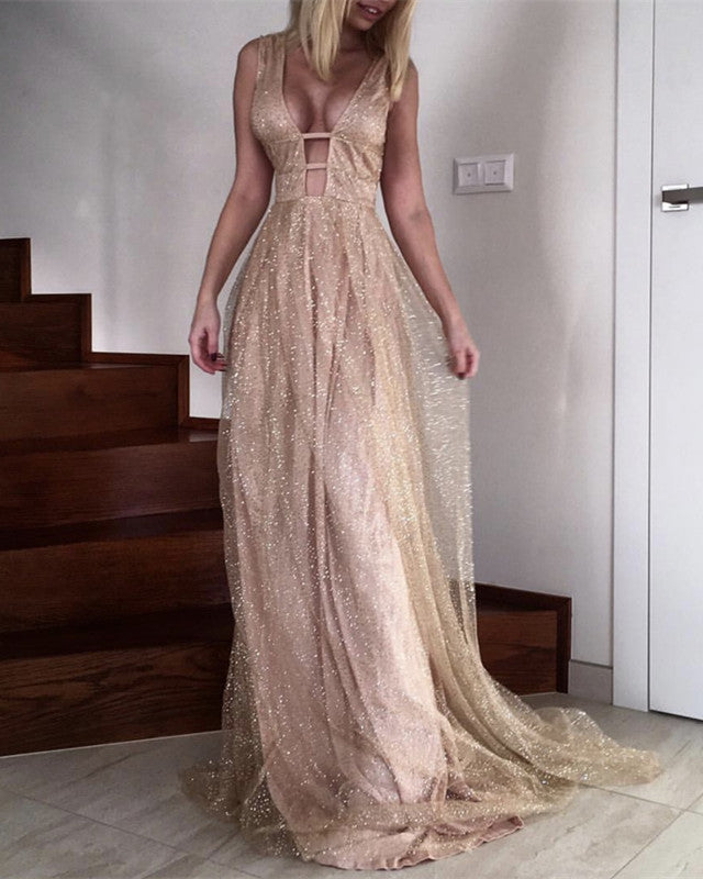 Sexy Plunge V-neck Long Sequins Prom Dresses