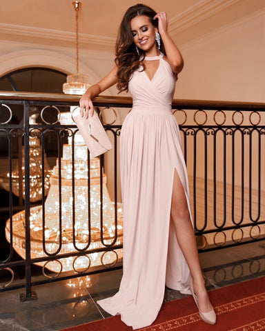 Image of Sexy Halter Chiffon Long Split Prom Dresses