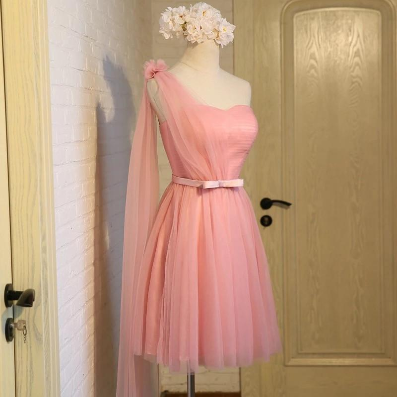 Short Pink Tulle Pleated Bridesmaid Dresses One Shoulder