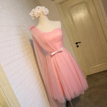 Load image into Gallery viewer, Short Pink Tulle Pleated Bridesmaid Dresses One Shoulder