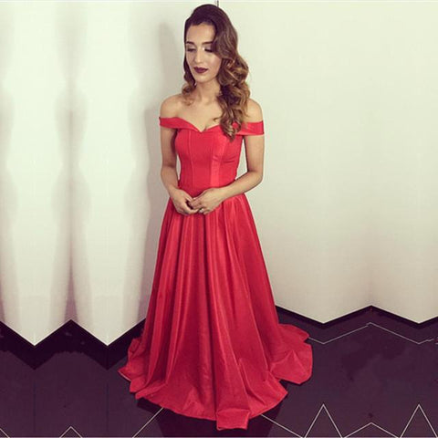 Image of Red Satin Off The Shoulder Bridesmaid Dresses For Wedding Party