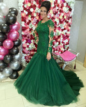 Afbeelding in Gallery-weergave laden, Long-Sleeves-Prom-Dresses-Mermaid