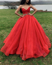Load image into Gallery viewer, Red-Wedding-Dresses-Organza-Ball-Gowns-Sleeveless