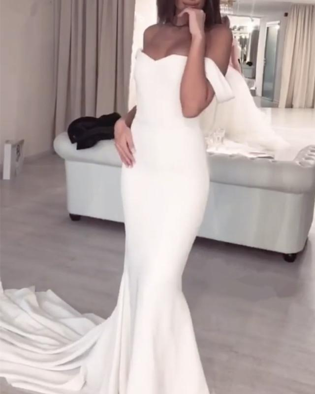 Mermaid Wedding Dresses Sweetheart Court Train With Off Shoulder