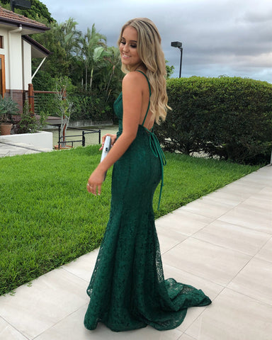 Image of Spaghetti Straps V-neck Long Green Lace Mermaid Prom Dresses