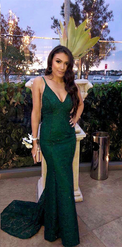 Spaghetti Straps V-neck Long Green Lace Mermaid Prom Dresses
