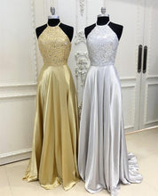Afbeelding in Gallery-weergave laden, Sparkly Crystal Beaded Halter Long Satin Open Back Prom Dresses 2018