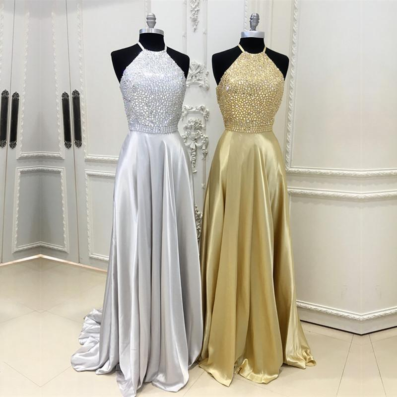 Sparkly Crystal Beaded Halter Long Satin Open Back Prom Dresses 2018