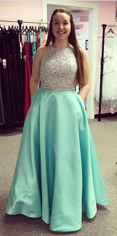 Image of Jewelry Neck Sequins Beaded Long Satin Open Back Prom Dresses 2018