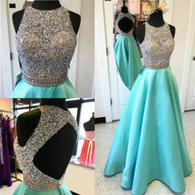 Afbeelding in Gallery-weergave laden, Jewelry Neck Sequins Beaded Long Satin Open Back Prom Dresses 2018