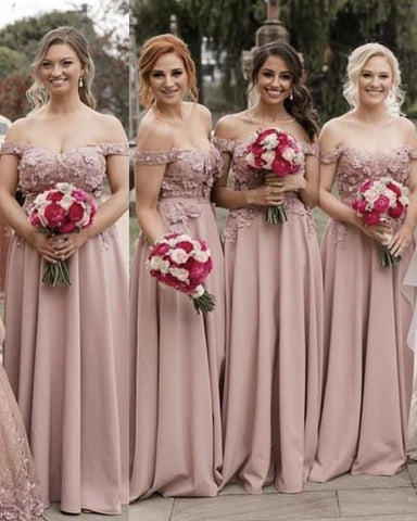 Image of Pale-Pink-Bridesmaid-Dresses-Elegant-Off-Shoulder-Evening-Gowns