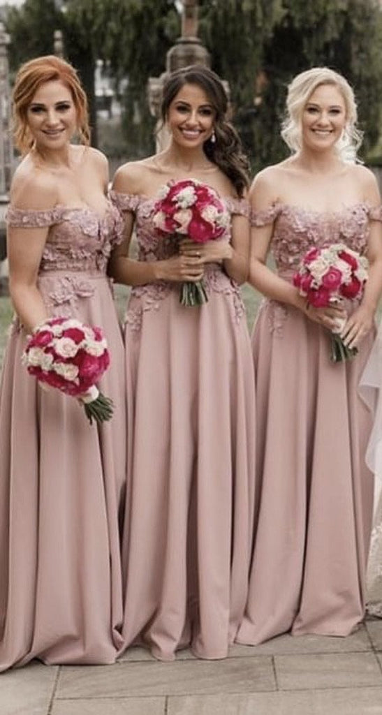 A-line Off Shoulder Lace Embroidery Bridesmaid Dresses Long