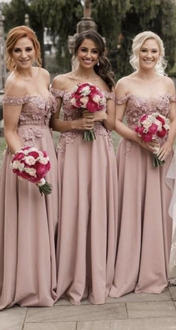 Image of A-line Off Shoulder Lace Embroidery Bridesmaid Dresses Long
